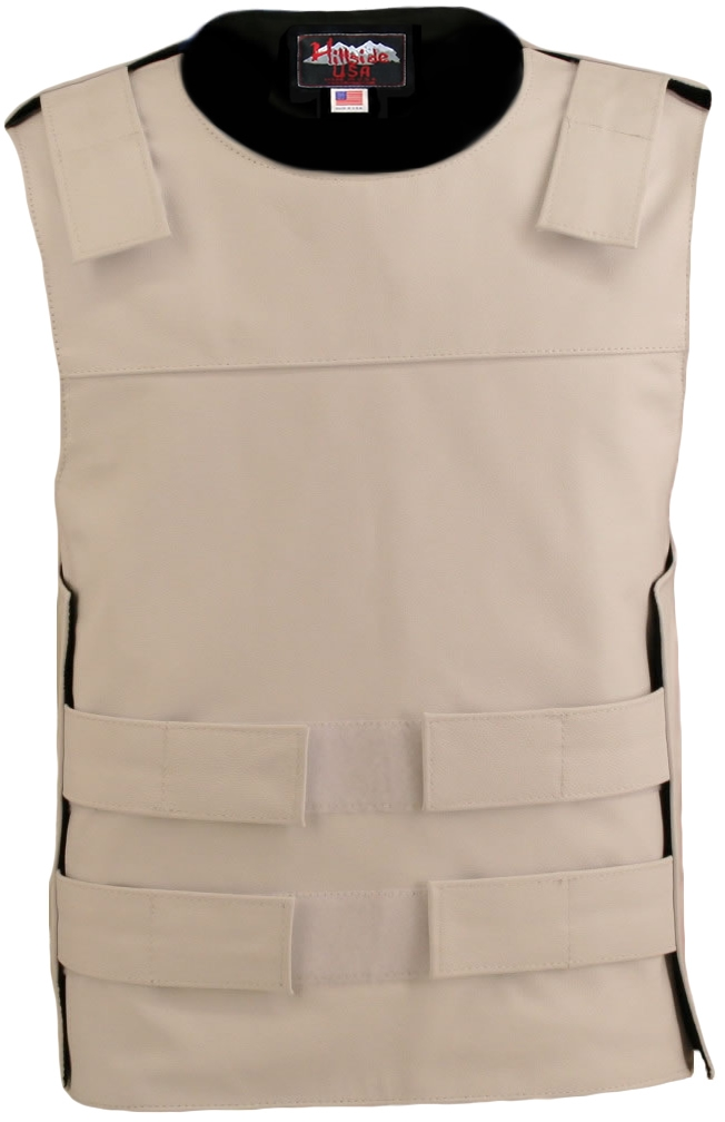 Men's White Bulletproof Style Leather Vest / Tactical street vest. Hand-crafted with durable Full-grain Cowhide leather (2 1/2 oz.) large back panel - excellent for club