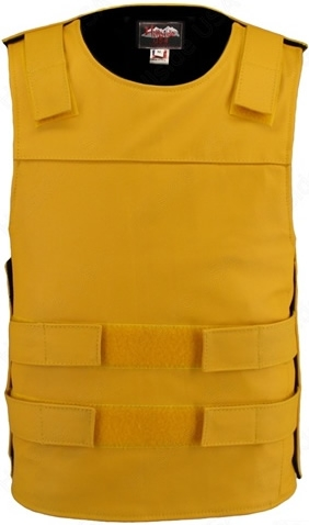 Men's Yellow Bullet proof Style Leather Vest / Street Tactical Vest. Hand-crafted with durable Full-grain Cowhide leather (2 1/2 oz) large back panel - excellent for club