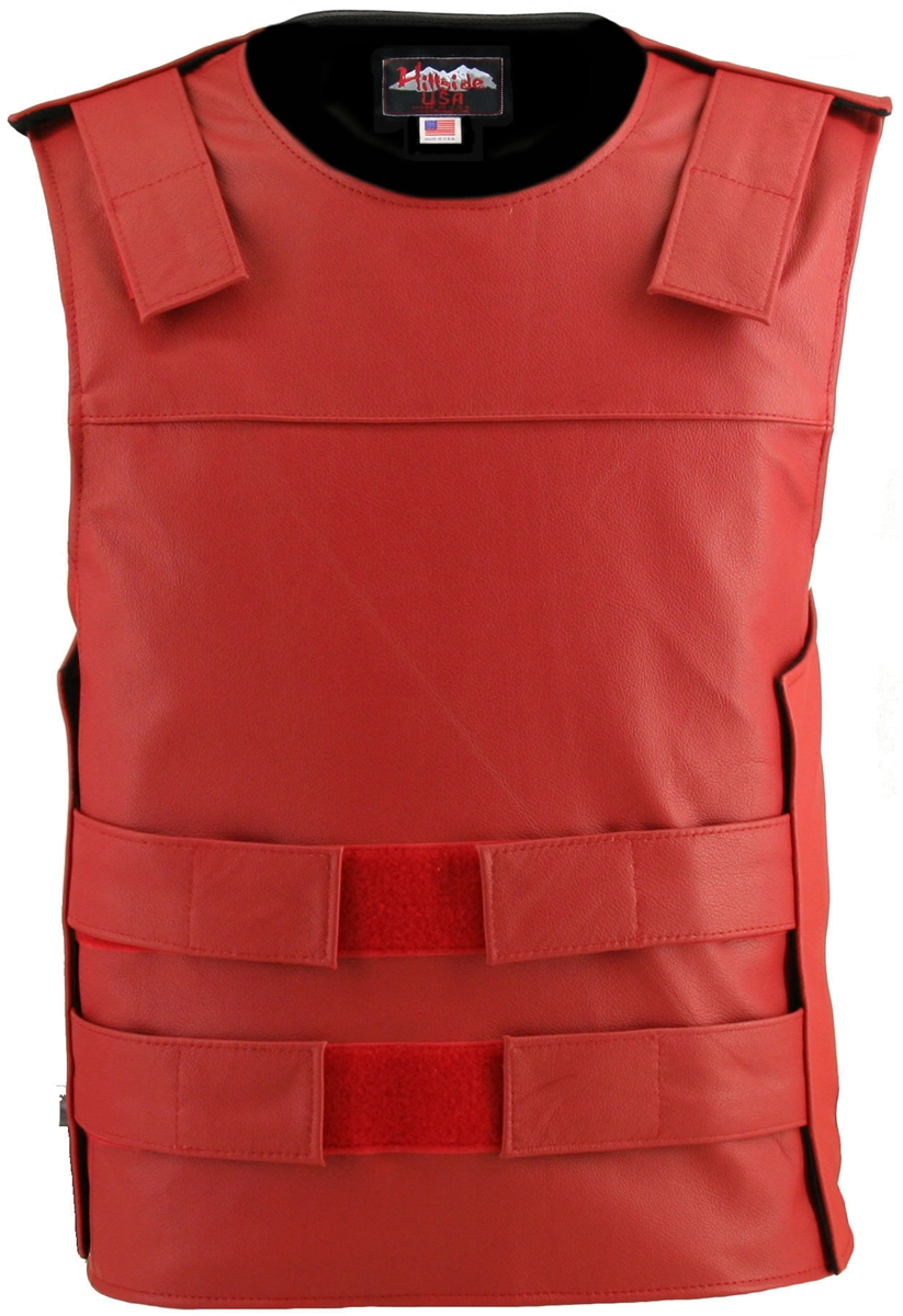 Men's Red Bulletproof Style Leather Vest. Hand-crafted with durable Full-grain Cowhide leather (2 1/2 oz.) large back panel - excellent for club
