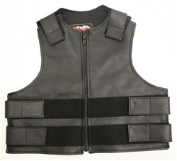 Kids Zippered Tactical Style Vest All Leather