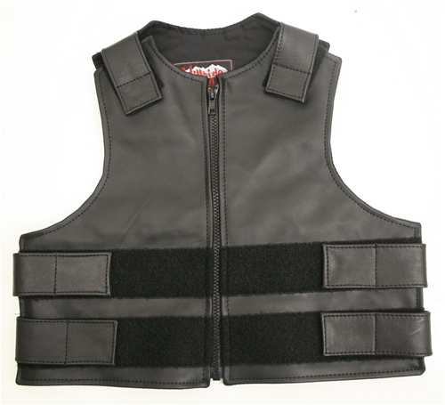Our Kid's Zippered Bulletproof style vest offer similar quality and features found in our adult sizes and are available at the same affordable prices. To include Full-grain Cowhide leather (2 1/2 oz.) Zippered Front, adjustable leather straps at shoulders