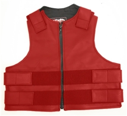 Kids Zippered Tactical Style Vest Red All Leather