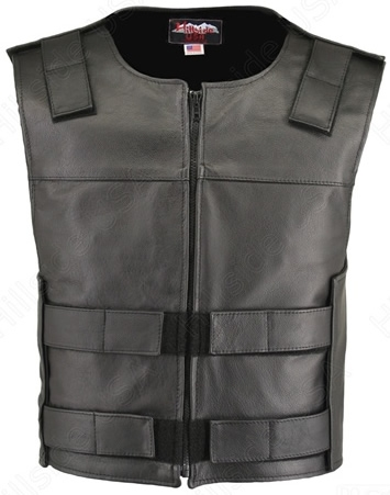 Men's Black Zippered Bulletproof Style Leather Vest / Tactical Street Vest With Zipper. Offers the same quality as the Standard bullet proof style model, with a Front Zipper, adding the Functionality and quality that only Hillside USA can offer. Men's Bla