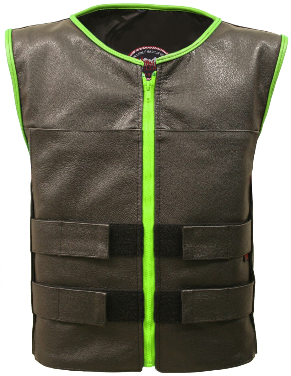 Men's Zippered Tactical Vest Lime-Green Accent. Hand-crafted with durable Full-grain Cowhide leather (2 1/2 oz) Large panel back easy to add patches or custom embroidery. Adjustable leather straps at shoulders for length, waist/chest for varying waist and