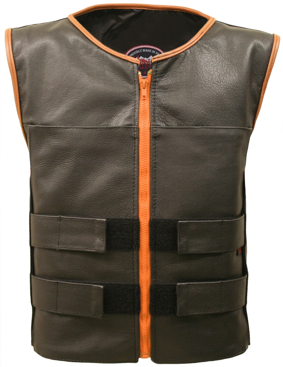 Men's Zippered Tactical Vest Orange Accent. Hand-crafted with durable Full-grain Cowhide leather (2 1/2 oz) Large panel back easy to add patches or custom embroidery. Adjustable leather straps at shoulders for length, waist/chest for varying waist and che