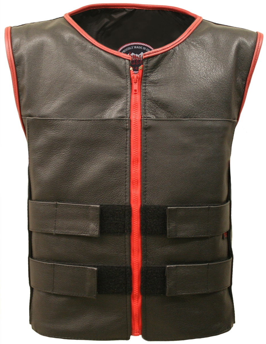 Men's Zippered Tactical Vest Red Accent  Utilizing the features from the Men's Zippered Tactical Style Leather Vest, Hillside USA has created the Men's Zippered Tactical Vest Red Accent.    It is Versatile and extremely functional with the following uniq