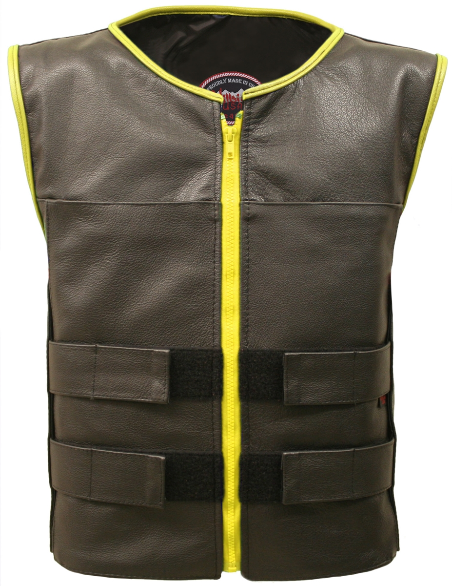 Men's Zippered Tactical Vest Yellow Accent. Hand-crafted with durable Full-grain Cowhide leather (2 1/2 oz) Large panel back easy to add patches or custom embroidery. Adjustable leather straps at shoulders for length, waist/chest for varying waist and che