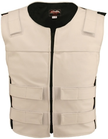 Men's white Zippered Bulletproof Style Leather Vest. Offers the same quality as the Standard bulletproof style model, with a Front Zipper, adding the Functionality and quality that only Hillside USA can offer. Hand-crafted with durable Full-grain Cowhide