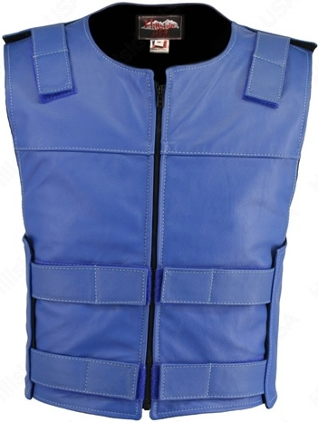 Men's Royal Blue Zippered Bulletproof Style Leather Vest. Offers the same quality as the Standard bulletproof style model, with a Front Zipper, adding the Functionality and quality that only Hillside USA can offer. Hand-crafted with durable Full-grain Cow