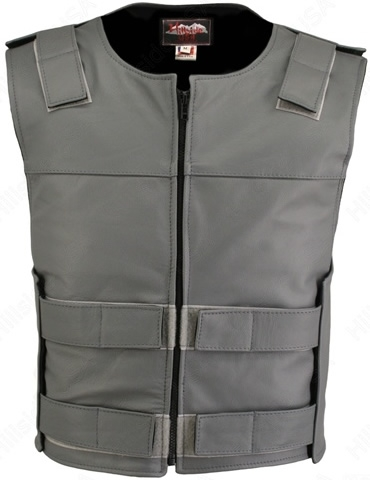 Men's Grey Zippered Bulletproof Style Leather Vest. Offers the same quality as the Standard bulletproof style model, with a Front Zipper, adding the Functionality and quality that only Hillside USA can offer. Hand-crafted with durable Full-grain Cowhide l