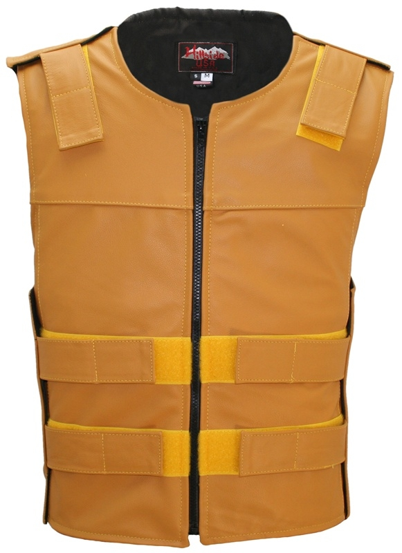 Men's Gold Zippered Bulletproof Style Leather Vest. Offers the same quality as the Standard bulletproof style model, with a Front Zipper, adding the Functionality and quality that only Hillside USA can offer. Hand-crafted with durable Full-grain Cowhide l