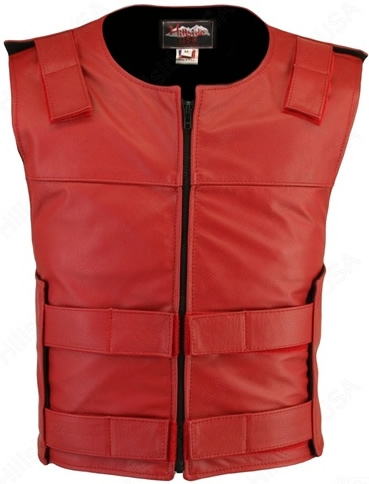 Men's Red Zippered Bulletproof Style Leather Vest. Offers the same quality as the Standard bulletproof style model, with a Front Zipper, adding the Functionality and quality that only Hillside USA can offer. Hand-crafted with durable Full-grain Cowhide le