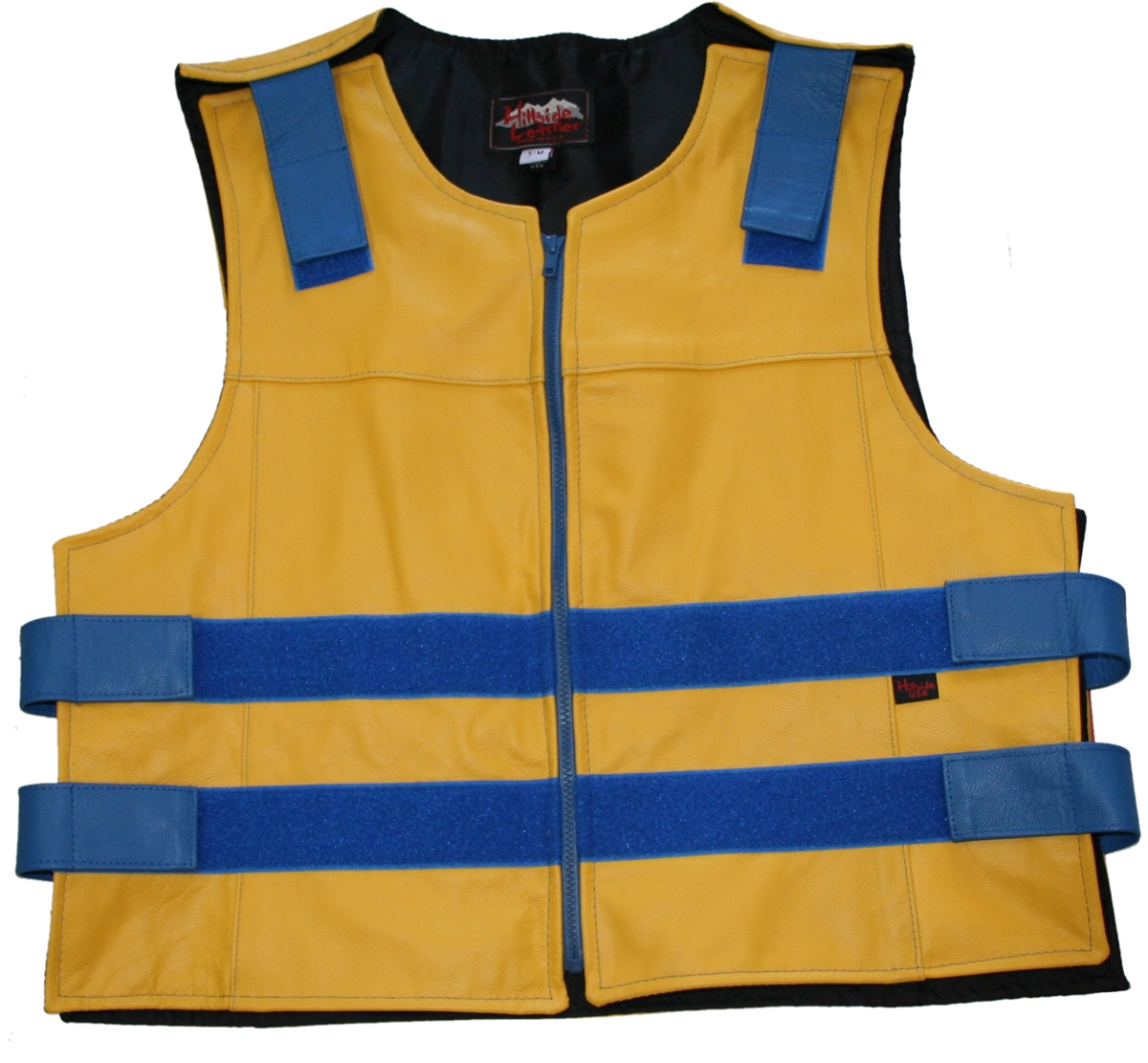 Men's Yellow Zippered Bulletproof Style Leather Vest. Offers the same quality as the Standard bulletproof style model, with a Front Zipper, adding the Functionality and quality that only Hillside USA can offer. Hand-crafted with durable Full-grain Cowhide