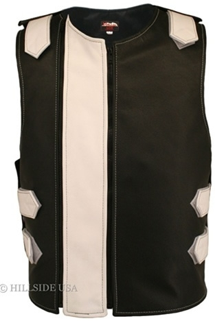 Men's Dual Front Zipper Tactical Leather Vest Black White