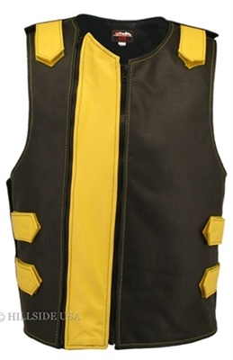 Men's Dual Front Zipper Tactical Leather Vest Black/Yellow (Clearance)