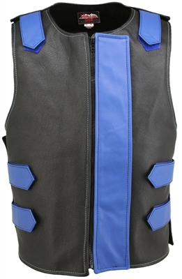 Removable Flap Tactical Leather Vest Black/Royal Blue(clearance)