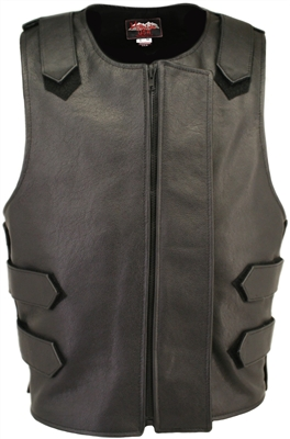 Removable Flap Tactical Leather Vest Black(Clearance)