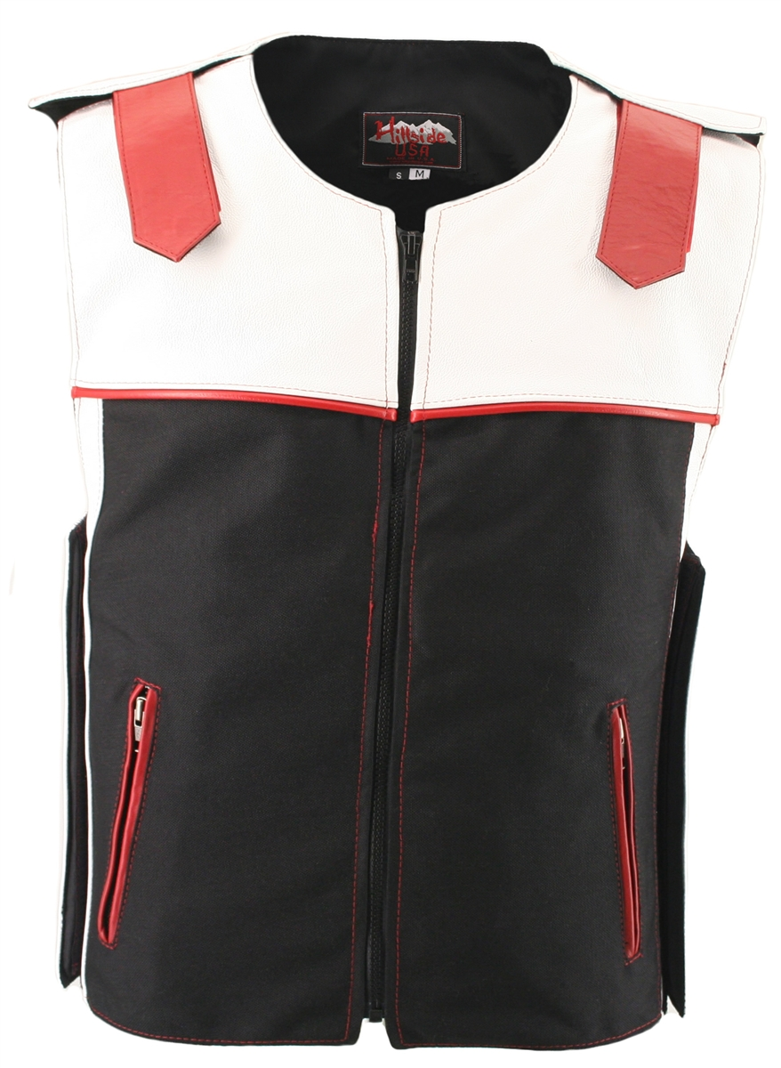 Innovative design, imaginative combination of colors, and impeccable workmanship makes this an astonishing leather vest. This unique design features: light weight combination of leather and waterproof Denier Cordura 1000 fabric, leather straps at shoulder