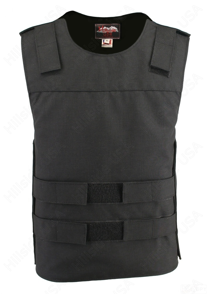 Black Cordura Bulletproof Style Vest. Offers the same quality as the standard bulletproof style model, adding the functionality and quality that only Hillside USA can offer. Hand-crafted with durable USA Denier Cordura 1000. Large panel back easy to add p