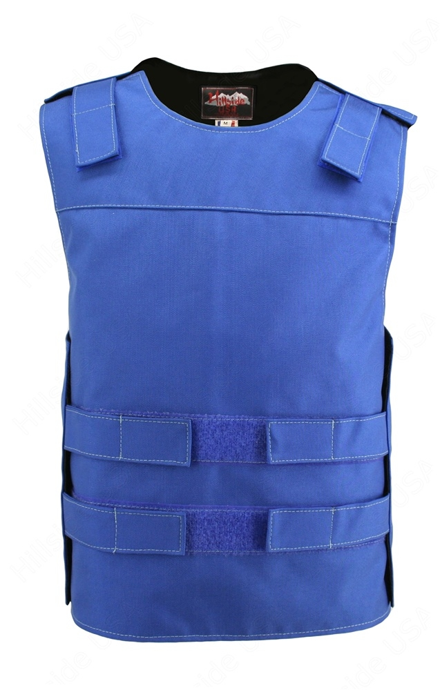 Men's Blue Cordura Bulletproof Style Vest. Offers the same quality as the standard bulletproof style model, adding the functionality and quality that only Hillside USA can offer. Hand-crafted with durable USA Denier Cordura 1000. Large panel back easy to