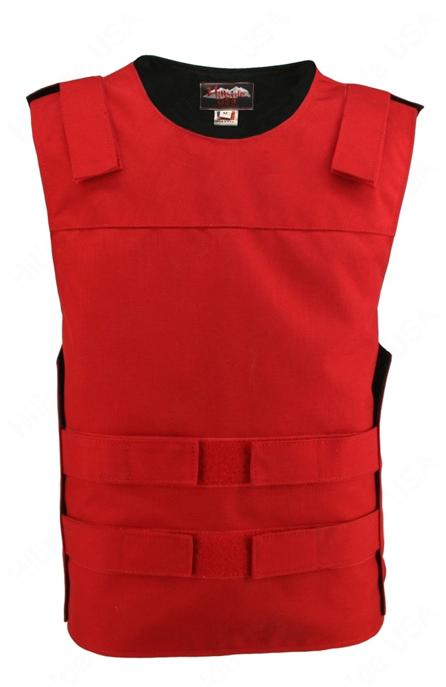 Men's Red Cordura Bulletproof Style Vest. Offers the same quality as the standard bulletproof style model, adding the functionality and quality that only Hillside USA can offer. Hand-crafted with durable USA Denier Cordura 1000. Large panel back easy to a