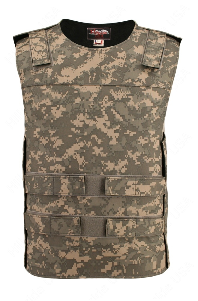Men's Polyester Duck Bulletproof Style Vest. Offers the same quality as the standard bulletproof style model, adding the functionality and quality that only Hillside USA can offer. Hand-crafted with durable 600 Polyester Duck. Large panel back easy to add