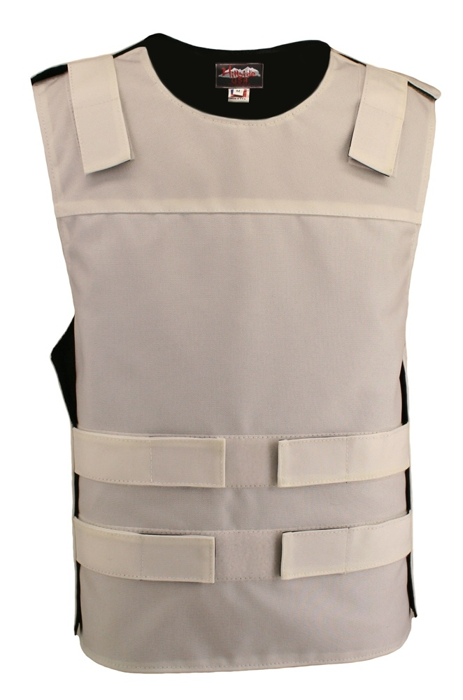 Men's White Cordura Bulletproof Style Vest. Offers the same quality as the standard bullet proof style model, adding the functionality and quality that only Hillside USA can offer. Hand-crafted with durable USA Denier Cordura 1000. Large panel back easy t