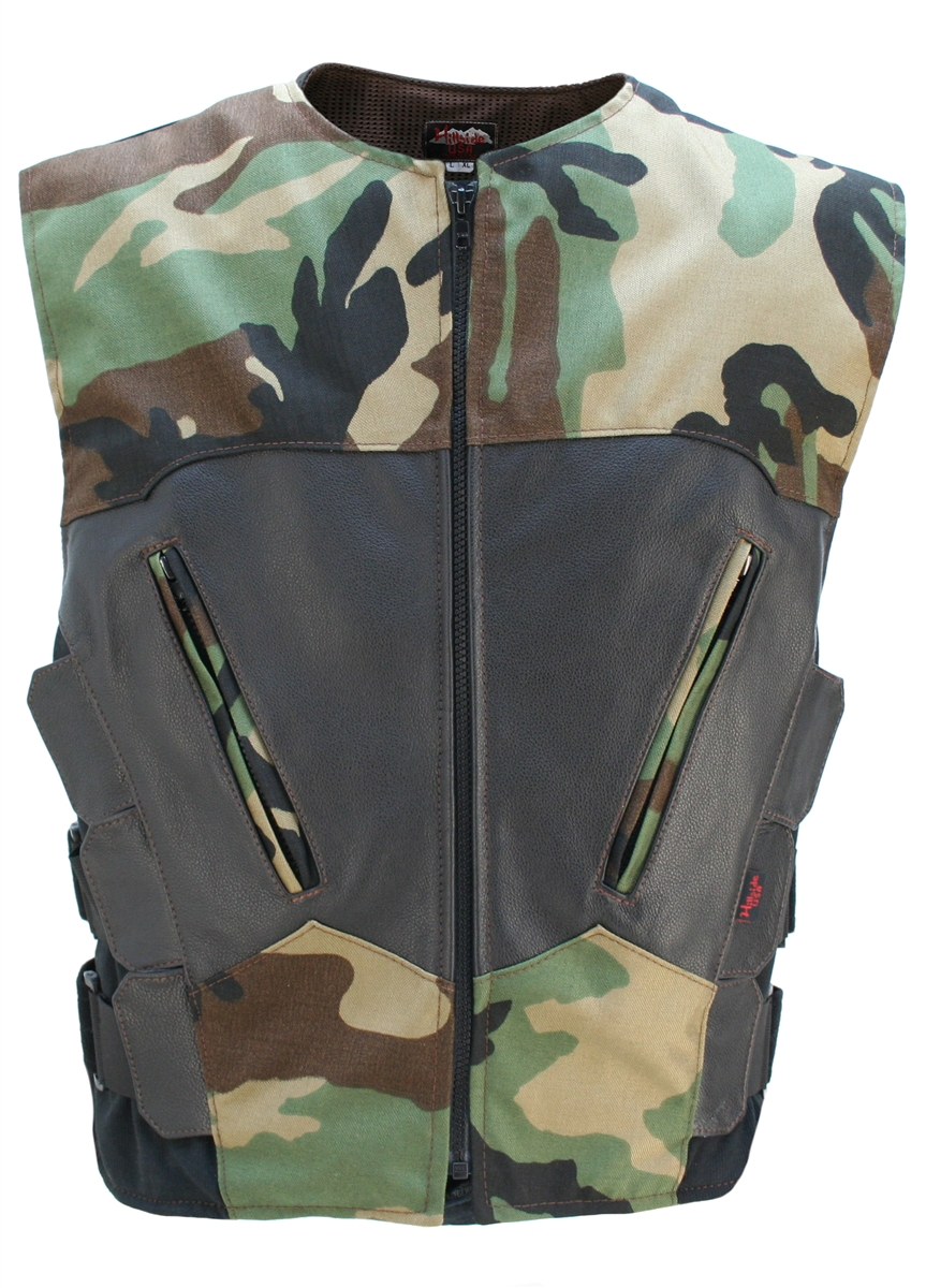 The most functional, light weight combination of leather and waterproof Denier Cordura 1000 fabric. Hillside USA latest creation features: Cordura Front and Rear center panels, Leather top front, Rear shoulder yokes, cross-draw zippered pockets, triple si
