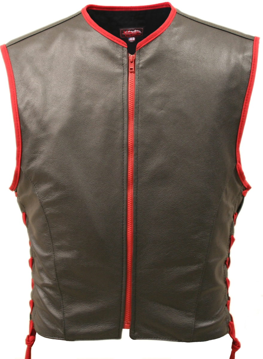 The lace side version of our best-selling Interceptor leather vest has the perfect mix of elegance and comfort.It is made from (2 1/2 oz.) soft full-grain cowhide leather.  It has a red YKK zipper front, red leather trimming around the armhole-neck and re