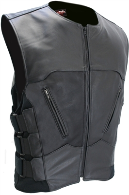 Black Interceptor Leather Vest