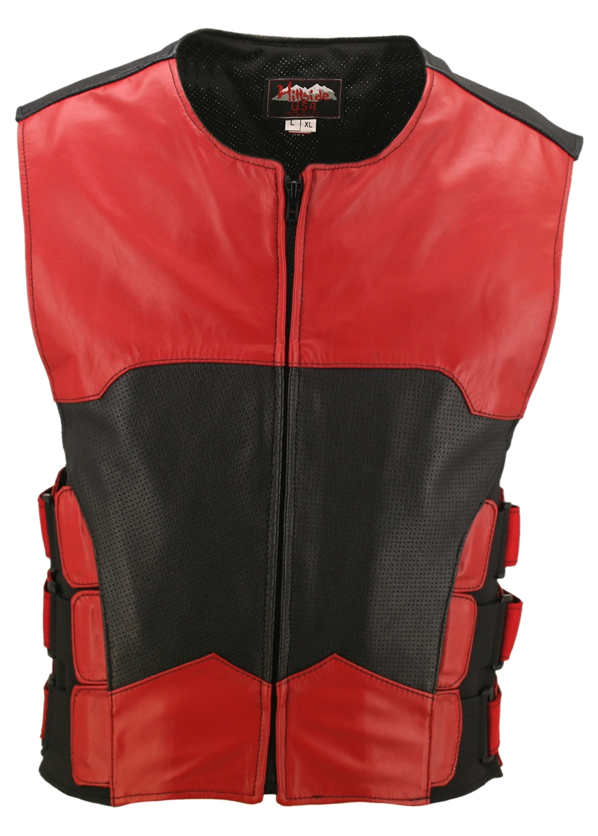 This Two Tone Vest is the newest version of the bulletproof style leather vests with some great upgrades. It has perforated leather panels (front-back) which will cool your body temperature down, you will still have the protection of the leather which no