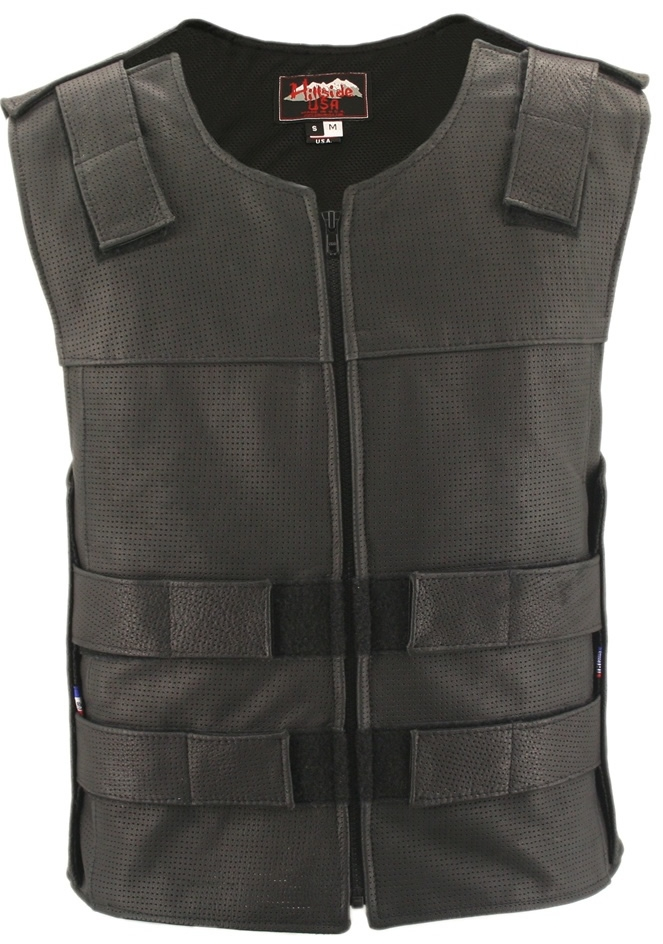 Full Perforated Zippered Tactical Style Leather Vest