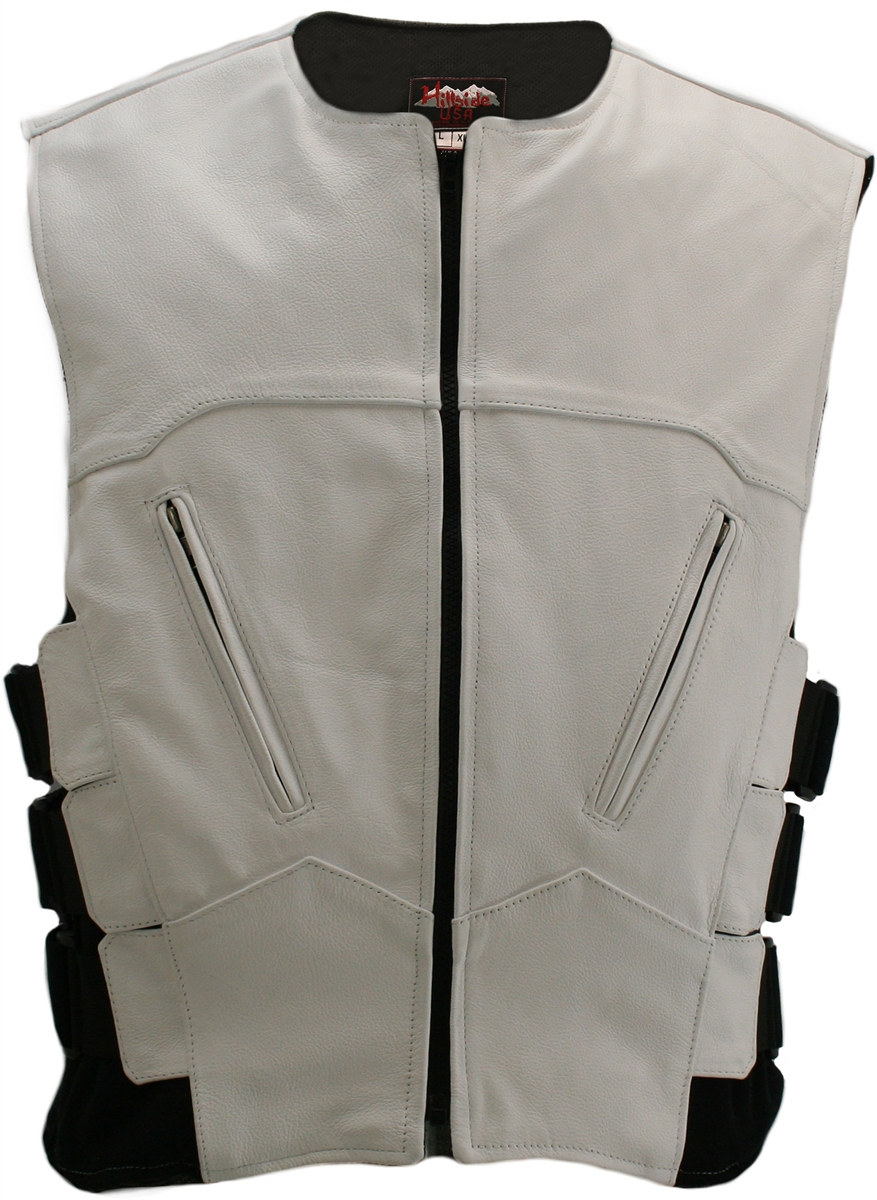 This Vest is the newest version of the bulletproof style leather vests with some great upgrades, such as two front cross-draw zippered pockets, triple side straps over heavy spandex side panels for styling and additional size adjustment. Lined with a brea