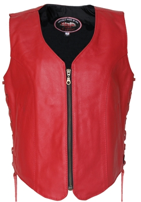 Women's Zip Up Red Leather Vest with gun pockets