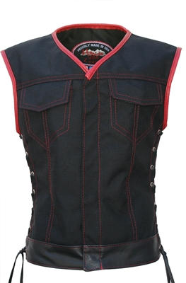 Women's Club Style Vest  (CORDURA - MILITARY GRADE FABRIC) Black/Red