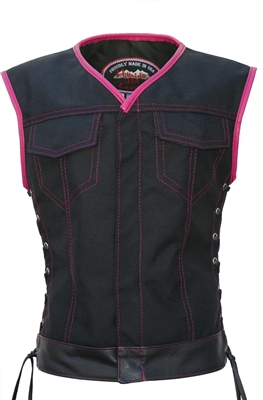 Women's Club Style Vest  (CORDURA - MILITARY GRADE FABRIC) Black/Hot Pink