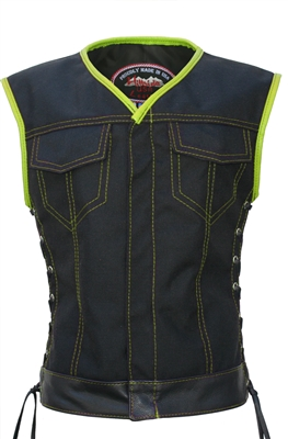 Women's SOA Style Side Lace (CORDURA - MILITARY GRADE FABRIC) Black/LimeGreen