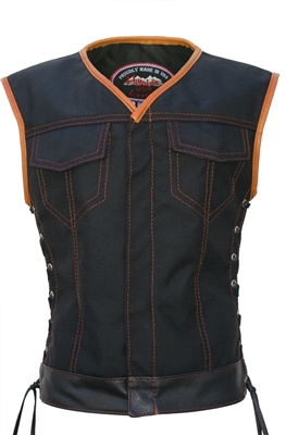 Women's Club Style Vest  (CORDURA - MILITARY GRADE FABRIC)  Black/Orange
