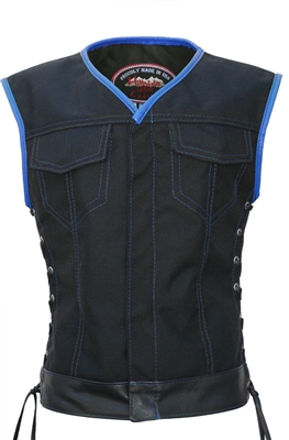 Women's Club Style Vest  (CORDURA - MILITARY GRADE FABRIC) Black/Royal Blue.