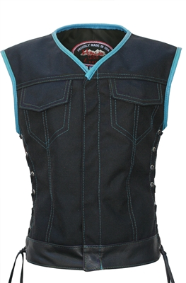 Women's SOA Style Side Lace (CORDURA - MILITARY GRADE FABRIC) Black/Turquoise