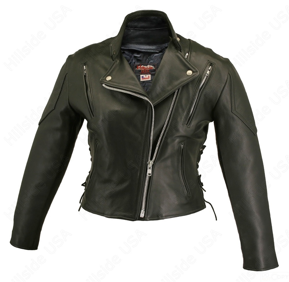 Women's Vented Biker Jacket. A combination of a stand-up collar and lapels of a basic biker jacket , made from 1.2-1.4 mm (3-31/2 oz.) soft, supple, cowhide naked leather with a removable Thinsulate liner and extremely durable heavy mesh shell. YKK silver