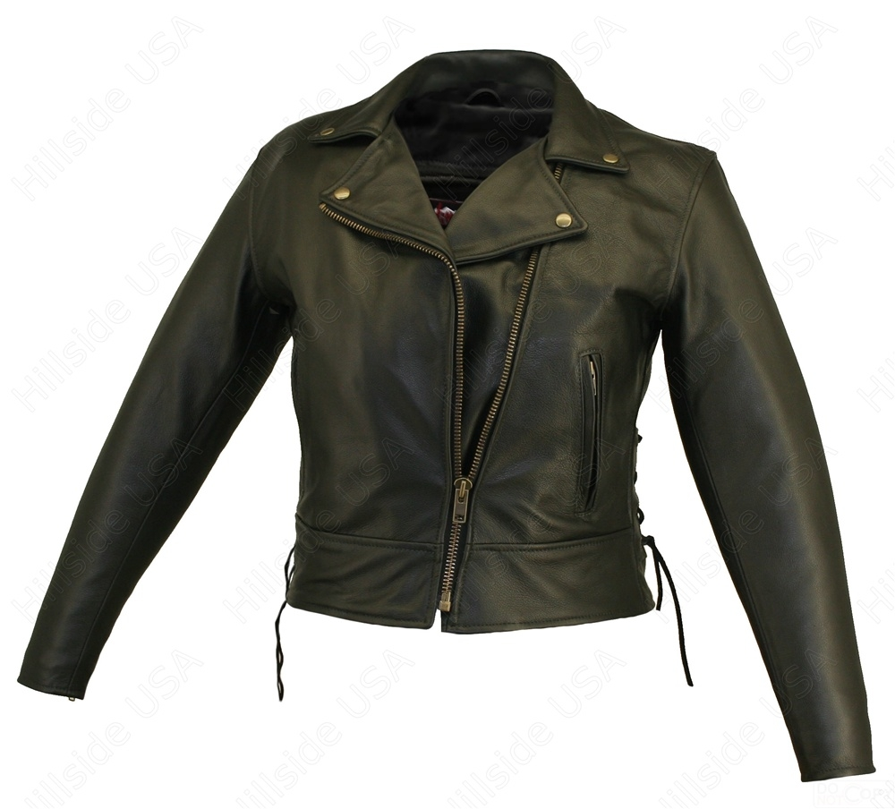 Women's Beltless Biker Jacket. Styled after our popular men's Beltless Biker / Scooter Jacket, loaded with exceptional features; 1.2-1.4 mm (3-31/2 oz) Soft, Supple, Cowhide Naked Leather, authentic YKK antiqued brass hardware for a lifetime of wear. Remo