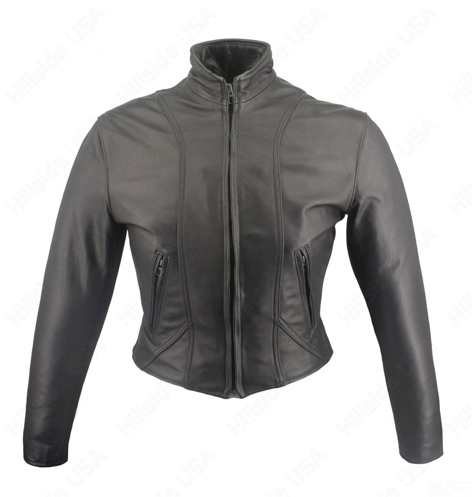 Women's Shaped Motorcycle Leather Jacket. This beautiful leather jacket has detail double stitching throughout. Action back, zippered cuffs and side gussets for comfort. Two zippered hand-warmer leather lined pockets and Two inside Leather Lined Gun Pocke