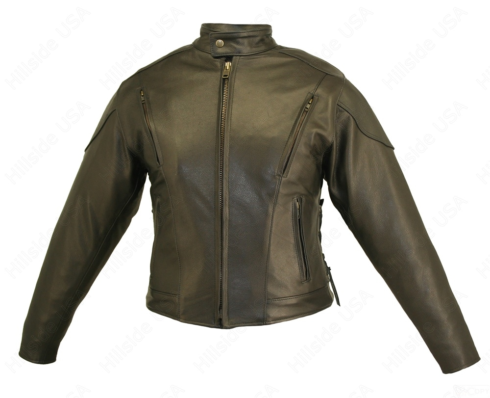 Women's Classic Vented Jacket. This all weather protector is made from 1.2-1.4 mm (3-31/2 oz) Soft, Supple, Cowhide Naked Leather With a Removable Thinsulate Liner and extremely durable heavy mesh shell. Mandarin collar, action back and zippered cuffs. Ha