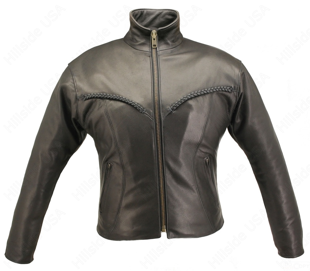 Women's Braided Riding Jacket. Top quality hand-crafted motorcycle jacket. Made of 1.2-1.4 mm (3-31/2 oz) Soft, Supple, Cowhide Naked Leather. Braided trim on the chest and back, convertible collar, Zip-out quilted Thinsulate liner with poly twill shell f
