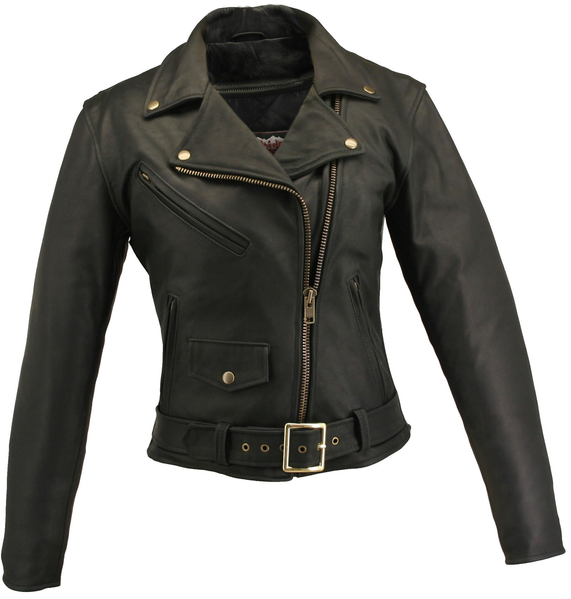 Women's Classic Biker Jacket. Classic look, but tough on the road and off. With upgrade features adds comfort and protection to an already timeless jacket. Features included 1.2-1.4 mm (3-31/2 oz) Soft, Supple, and black Cowhide Naked Leather. Action back