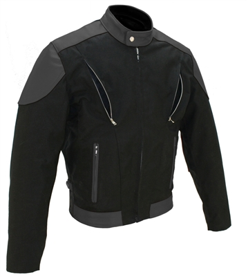 Vented Leather and Cordura Jacket All Black