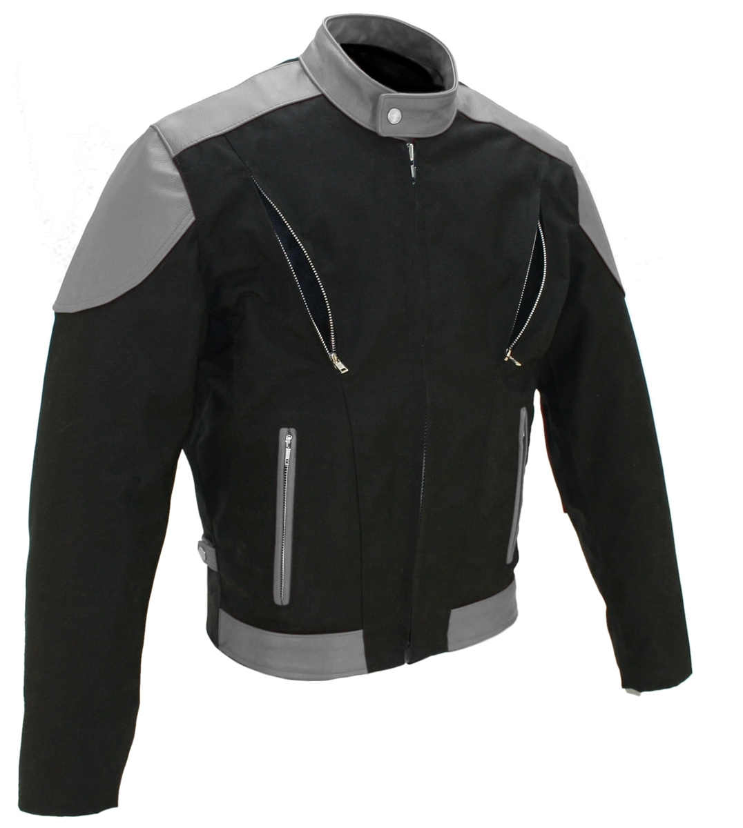 The Vented Leather & Cordura Jacket. This jacket is made of 1.2-1.4 soft premium cowhide and Denier Cordura 1000 (Heavy Duty Textile). Front and Rear Vents with heavy mesh liner for full ventilation - Too big or too small - adjustable  Sides, Too Hot - re