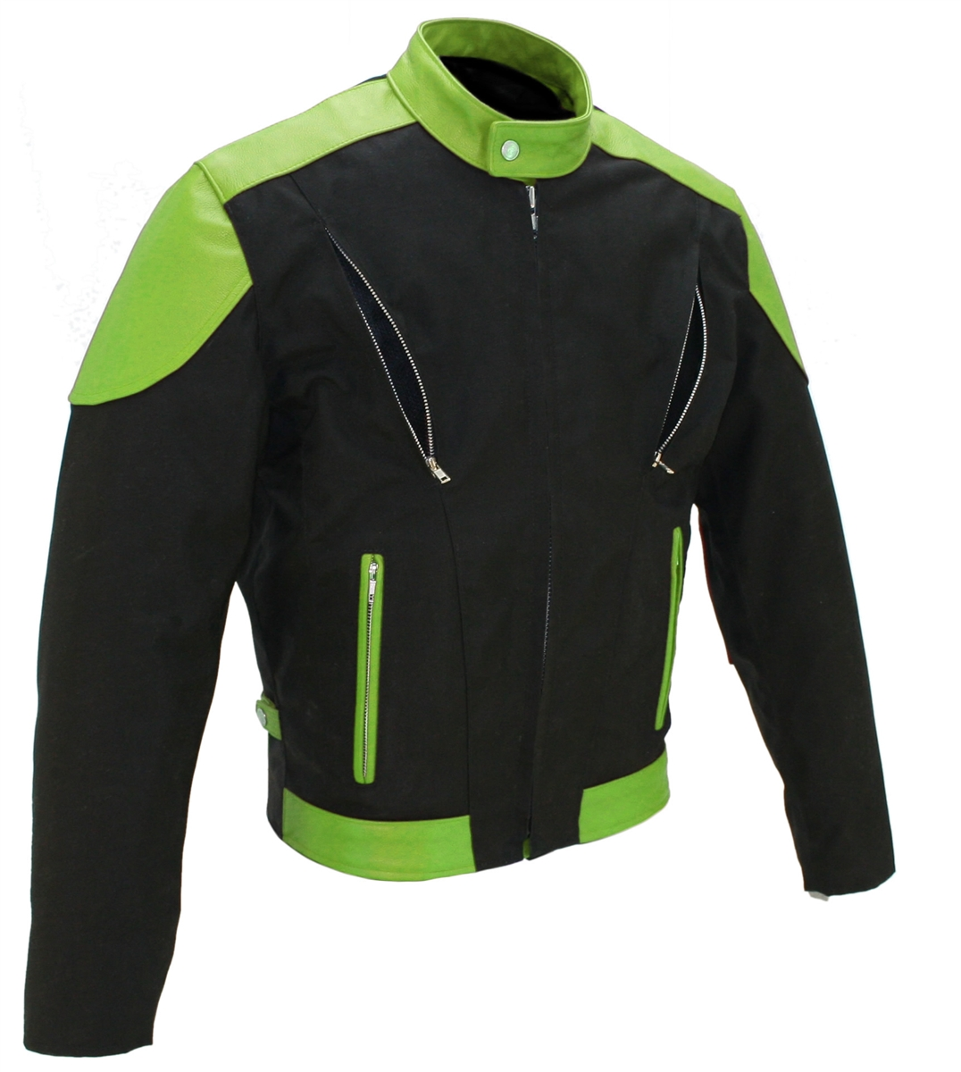 Men's Vented Leather & Cordura Jacket Black / Lime Green. This jacket is made of 1.2-1.4 soft premium cowhide and Denier Cordura 1000 (Heavy Duty Textile). Front and Rear Vents with heavy mesh liner for full ventilation - Too big or too small - adjustable