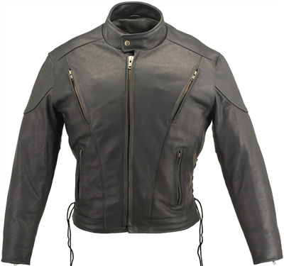 Mens Vented Leather Racing Jacket